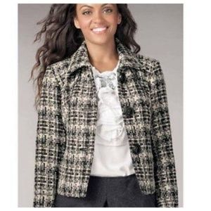 CAbi Corporate Tweed Button Up Boucle Blazer